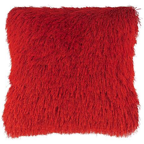 """Dallas Red 20"""" Square Decorative Shag Pillow"""