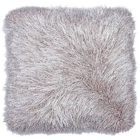 """Dallas Silver 20"""" Square Decorative Shag Pillow"""