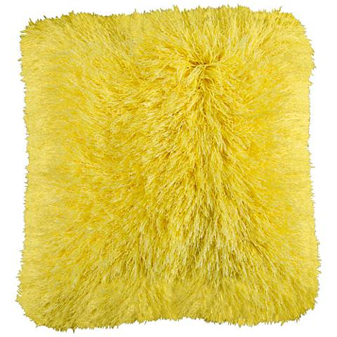 "Dallas Summer Yellow 20"" Square Decorative Shag Pillow"