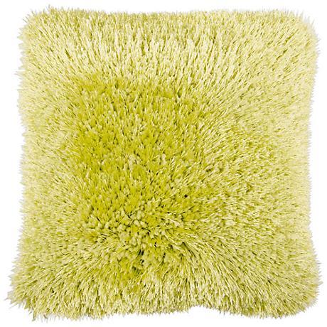 "Duran.B Green 20"" Square Decorative Shag Pillow"