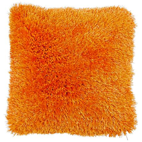 "Duran.B Orange 20"" Square Decorative Shag Pillow"