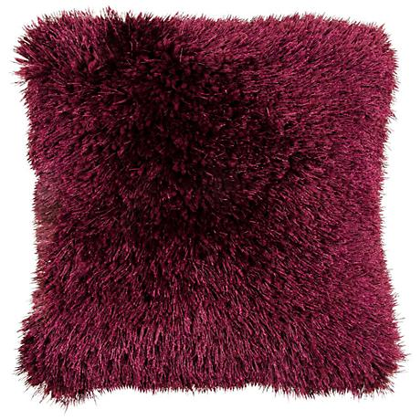 "Duran.B Plum 20"" Square Decorative Shag Pillow"