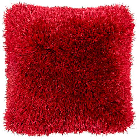 "Duran.B Red 20"" Square Decorative Shag Pillow"