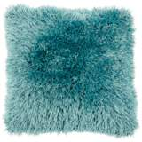 "Duran.B Turquoise Blue 20"" Square Decorative Shag Pillow"
