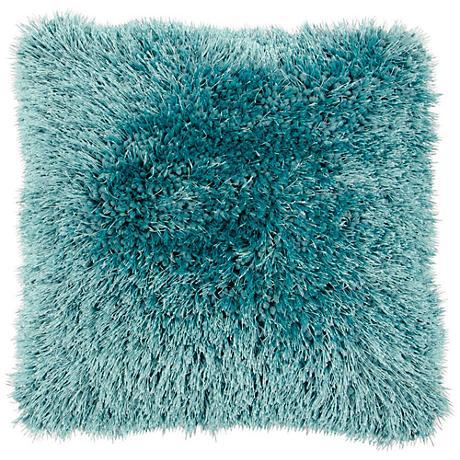 "Duran.B Turquoise Blue 20"" Square Decorative Shag Pillow"