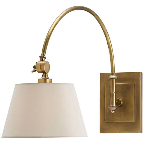 """Ashby 16 1/2"""" High Antique Brass Swing Arm Wall Lamp"""