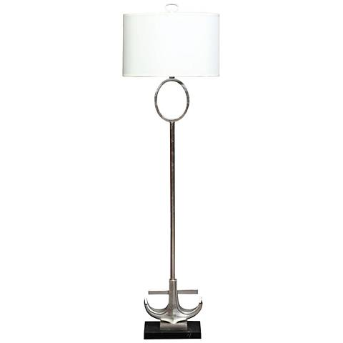 Anchored Silver Leaf Metal and Marble Floor Lamp