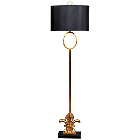 Fleur-de-Lis Gold Leaf Metal and Marble Floor Lamp
