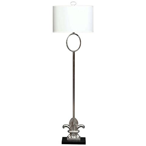 Fleur-de-Lis Silver Leaf Metal and Marble Floor Lamp