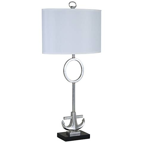 Anchored Silver Leaf Metal and Marble Table Lamp