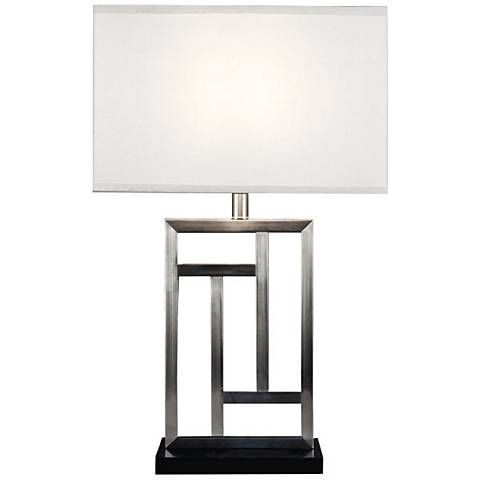 Modern Lattice Brushed Steel Metal Table Lamp