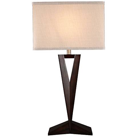 Victory Dark Brown Thin Tapered Wood Table Lamp