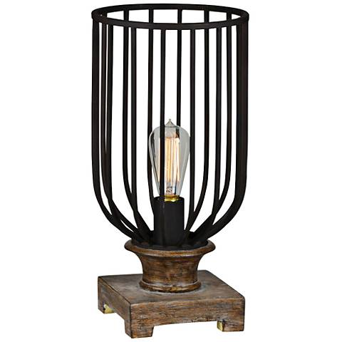 Wyatt Charcoal Gray Textured Uplight Accent Table Lamp