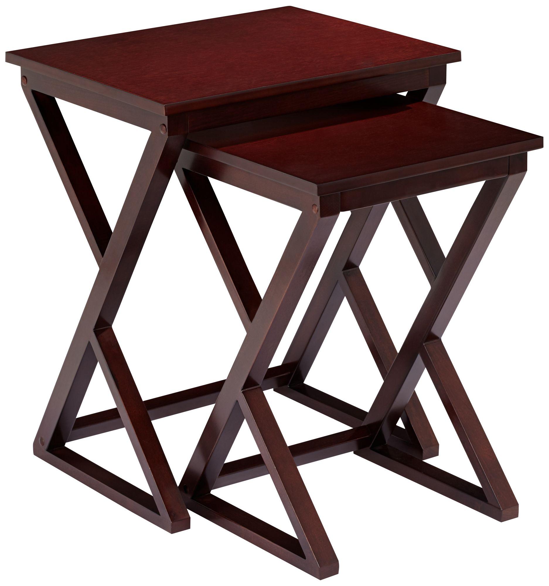 edith 2piece espresso nesting table set