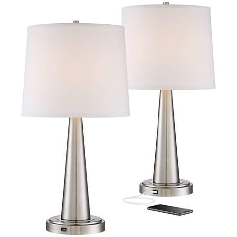 Set of 2 Karla Brushed Steel USB Table Lamps