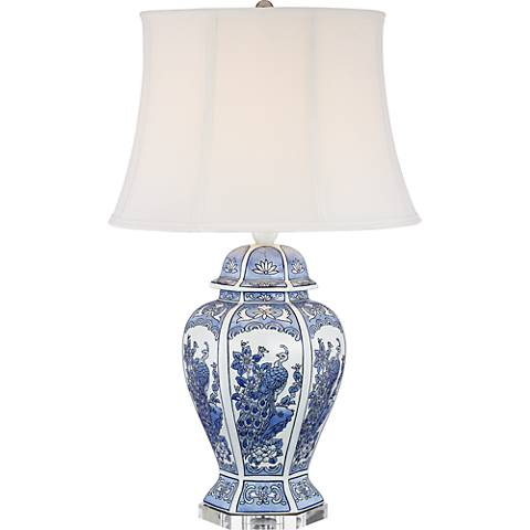 Monique Blue And White Peacock Table Lamp 1y081 Lamps