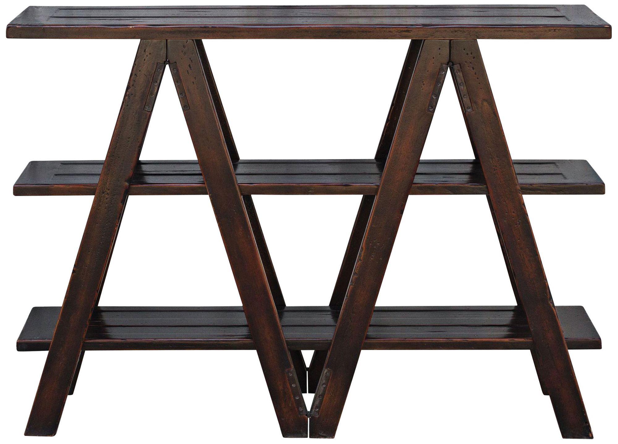 Uttermost Tafari Black Mahogany 3 Shelf Console Table