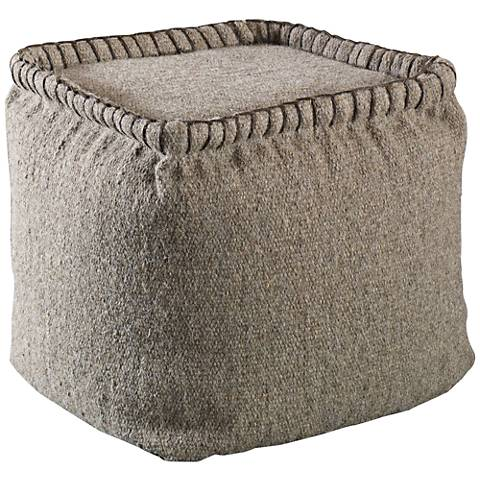Uttermost Anaya Dark Oatmeal Textured Wool Square Pouf