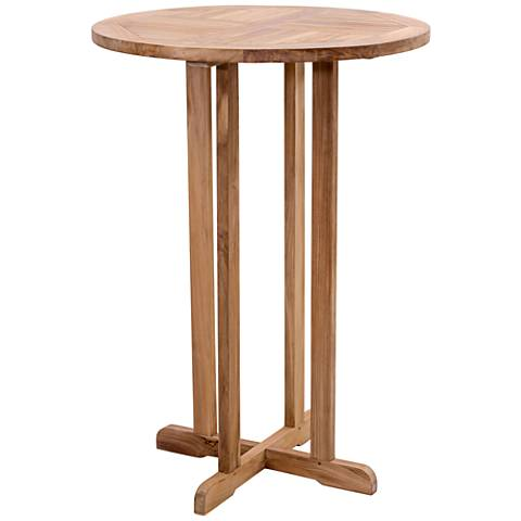 Zuo Trimaran Round Unfinished Teak Wood Outdoor Bar Table