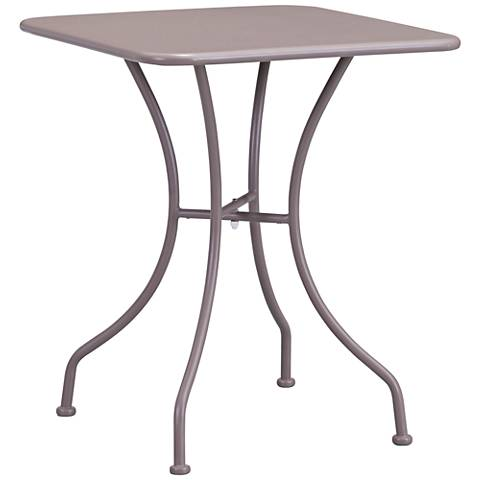 uo Oz Electro Taupe Square Metal Outdoor Dining Table
