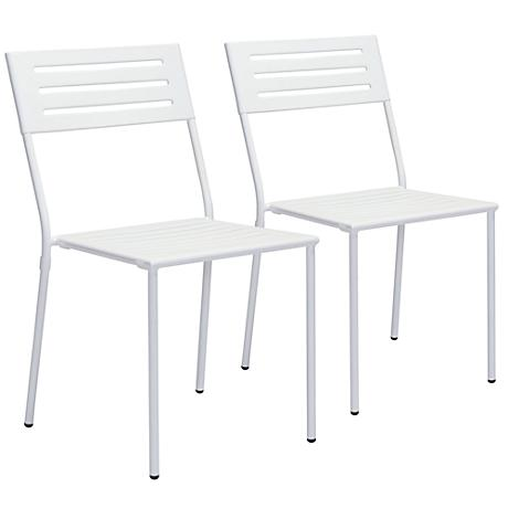 Zuo Wald Electro White Outdoor Dining Chair Set of 2