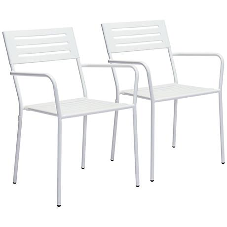 Zuo Wald Electro White Outdoor Dining Armchair Set of 2