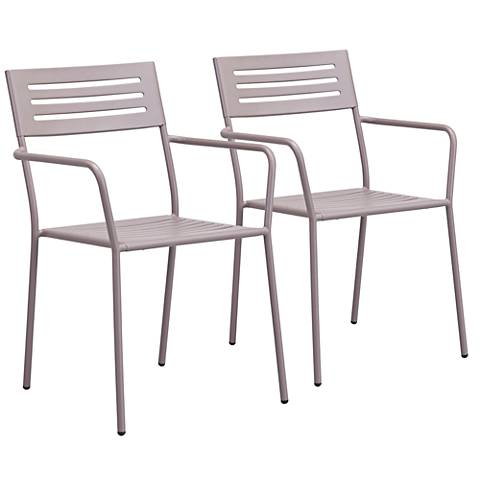 Zuo Wald Electro Taupe Outdoor Dining Armchair Set of 2