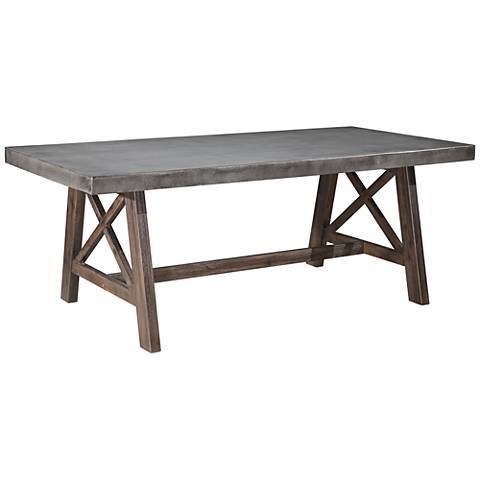 Zuo Ford Cement Top and Acacia Wood Outdoor Dining Table. Zuo Ford Cement Top and Acacia Wood Outdoor Dining Table    1Y182