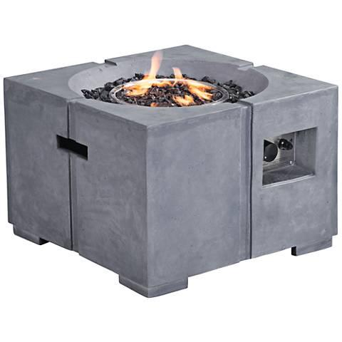 """Zuo Dante Gray Concrete Fiber 16 3/4"""" High Propane Fire Pit"""