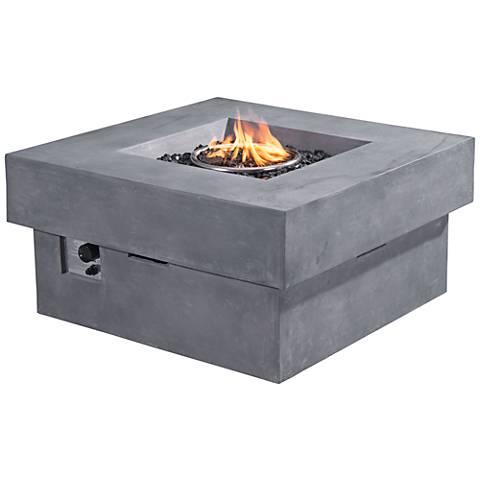 "Zuo Diablo Gray Concrete Fiber 18"" High Propane Fire Pit"