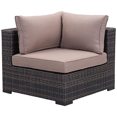 Zuo Bocagrande Brown and Beige Outdoor Corner Chair