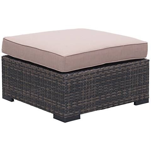 Zuo Bocagrande Brown and Beige Square Outdoor Ottoman