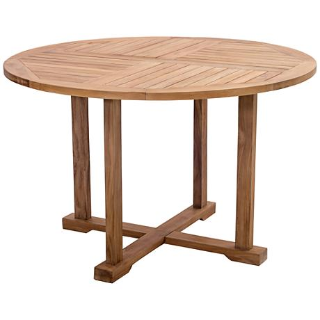 Zuo Regatta Natural Wood Round Outdoor Dining Table