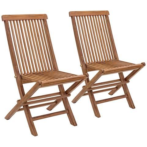 Zuo Regatta Natural Wood Outdoor Folding Chair Set of 2