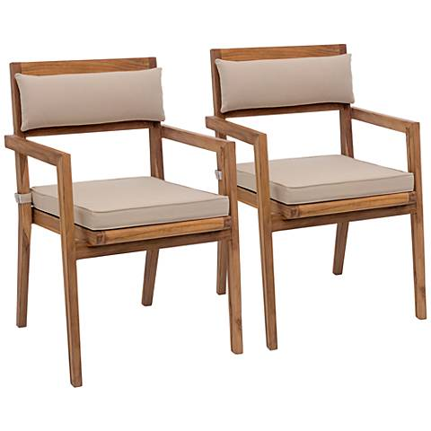 Zuo Nautical Outdoor Beige Teak Dining Armchair Set of 2