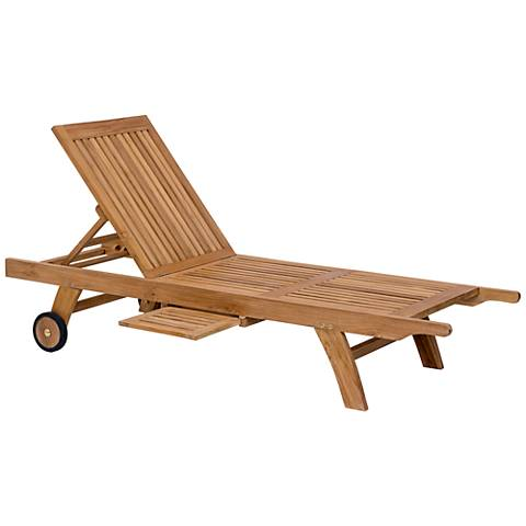 Zuo Starboard Natural Wood Adjustable Outdoor Chaise Lounge