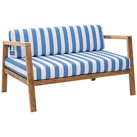Zuo Bilander Outdoor Blue/White Natural Teak Sofa