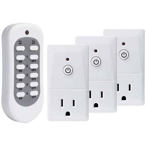 Tesler E-Z Control White 3-Plug Wireless Remote Wall Outlet