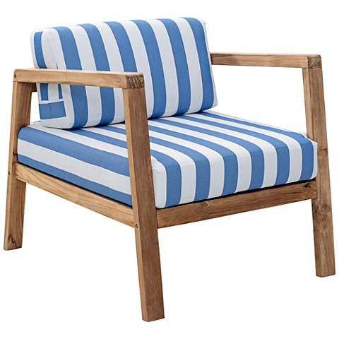 Zuo Bilander Outdoor Blue/White Natural Teak Armchair