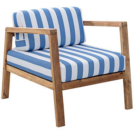 Zuo Bilander Outdoor Blue/White Natural Teak Armchair