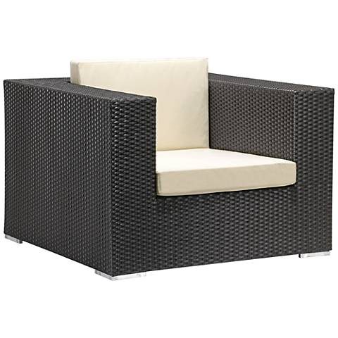 Zuo Cartagena Espresso and Beige Outdoor Armchair