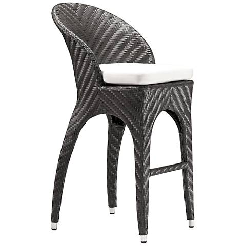 "Zuo Corona 31 1/2"" Espresso and Beige Outdoor Bar Chair"