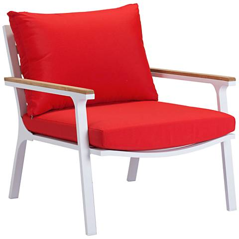 Zuo Maya Beach Red and White Outdoor Armchair Set of 2