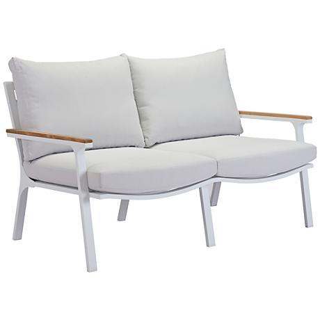 Zuo Maya Beach Gray and White Outdoor Sofa