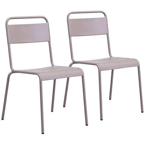 Zuo Oh Taupe Outdoor Dining Chair Set of 2