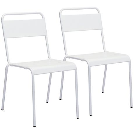 Zuo Oh White Outdoor Dining Chair Set of 2