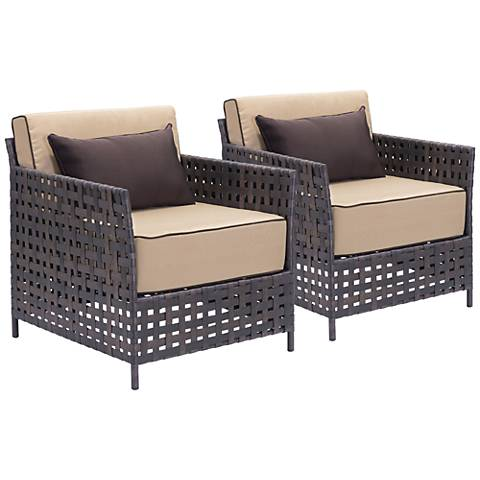 Zuo Pinery Brown and Beige Outdoor Armchair Set of 2