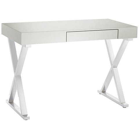 Luster Glossy Gray Wood and Chrome Office Desk