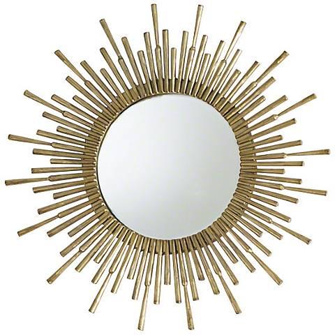 "Global Views Mini Spike Brass 18"" Round Sunburst Mirror"