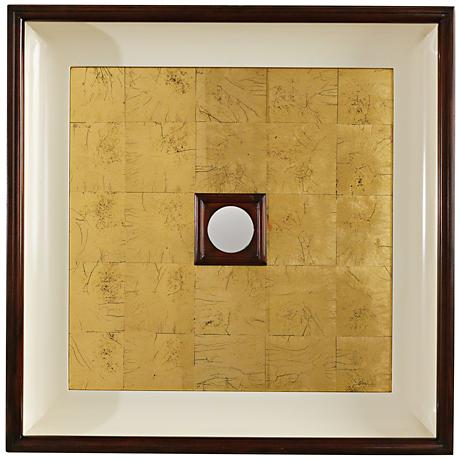"""Global Views Regal Walnut and Gold 24"""" Square Wall Mirror"""